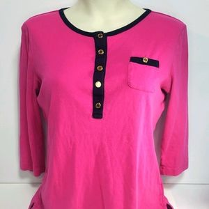 Lauren Ralph Lauren 3/4 Sleeve Pink Top